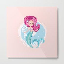 Cute little mermaid illustration Metal Print