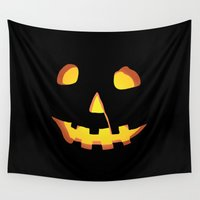 tote bag Wall Tapestries featuring HALLOWEEN Carved Pumpkin • Costume & Trick-or-Treat Bag by Joel M Young