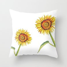 Watercolour Sunflower  Throw Pillow
