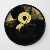 black and gold Wall Clocks featuring Black & Gold by Tamsin Lucie