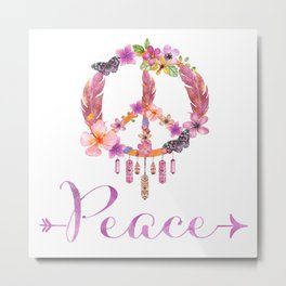 Peace Symbol Flower Power 70s Art Metal Print