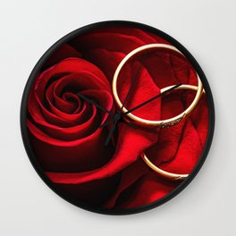 Rose and Wedding Rings Wall Clock