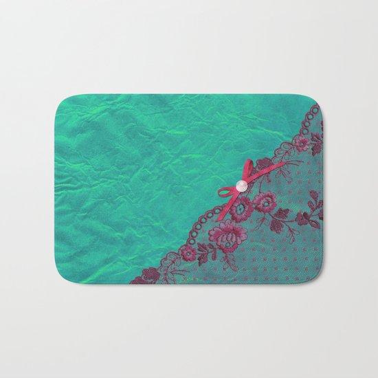 Claire´s treasure I - Pink lace,ribbon and pearl on aqua backround Bath Mat