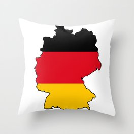 Germany Map with German Flag Throw Pillow