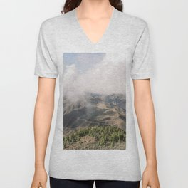 Moody Mountains in the Clouds   Foggy Pine Tree Hills in Gran Canaria   Nature Landscape Photography in Fog from Spain Unisex V-Neck