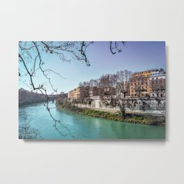 Tiber River Framed by Tree Branch Silhouette Metal Print