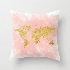 Gold Glitter Map, Nursery Art, Pink Gold, Pastels Throw Pillow