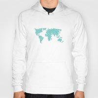 polkadot Hoodies featuring World Map - Polkadot Atlas (Cyan) by Rothko