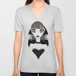 Goth girl with big brown eyes Unisex V-Neck