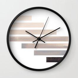 Grey Midcentury Modern Minimalist Staggered Stripes Rectangle Geometric Aztec Pattern Watercolor Art Wall Clock