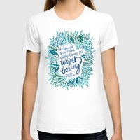 fitzgerald T-shirts featuring Zelda Fitzgerald – Blue on White by Cat Coquillette