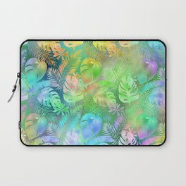 Iridescent Tropical Leaves in Aquas, Greens and Yellows Laptop Sleeve