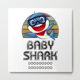 Baby Shark Retro (Boy) - For Light Metal Print