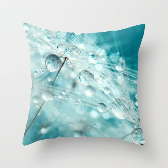 Dandy Starburst in Blue Throw Pillow