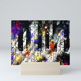 piano keys and music sheet pattern wsstd Mini Art Print