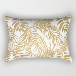 Elegant tropical gold white palm tree leaves floral Rectangular Pillow