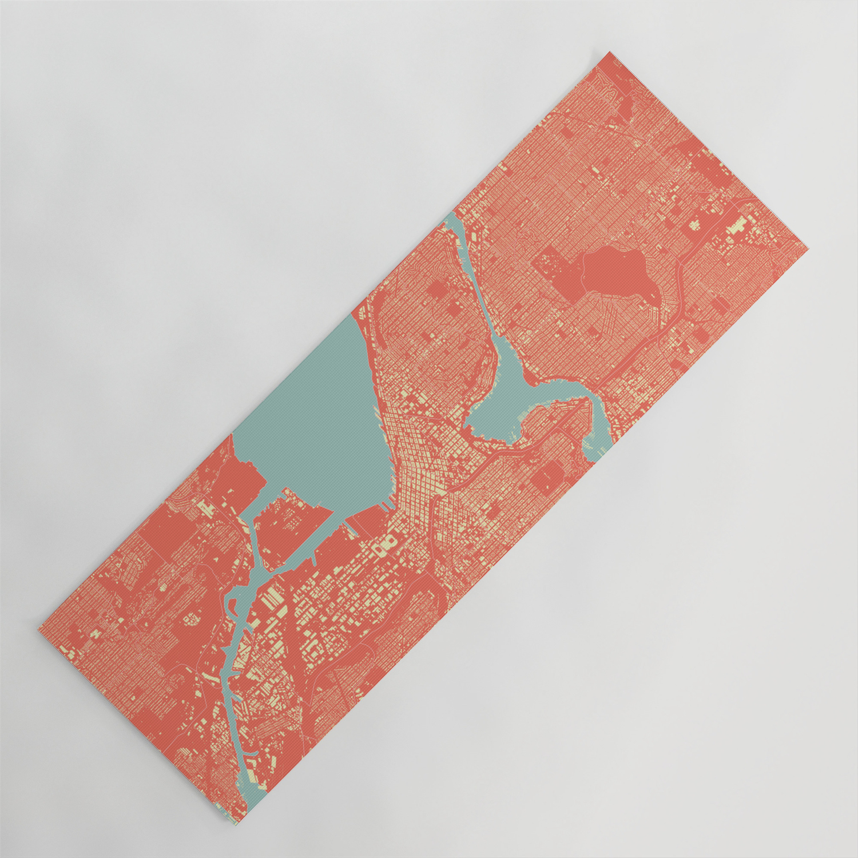 Seattle Washington City Map Colorful Yoga Mat By Heatherhartman Society6