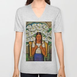 Young Guadalajara Flower Seller with Calla Lilies by Diego Rivera Unisex V-Neck