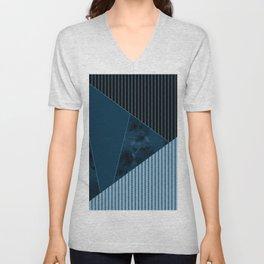 Valencia 3. Abstract, black, blue geometric pattern. Unisex V-Neck