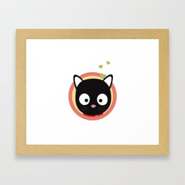Black Cute Cat With Hearts Framed Art Print