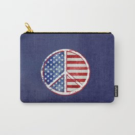 Watercolor Patriot Peace Symbol Stars and Stripes USA Flag Carry-All Pouch