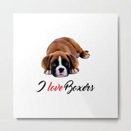 I Love Boxers Boxer Puppy Photo Metal Print