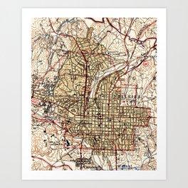 Vintage Map of Raleigh North Carolina (1940) Art Print