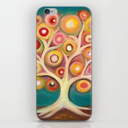Tree of life with colorful abstract circles iPhone Skin