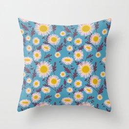 English Daisy, Cerulean Throw Pillow