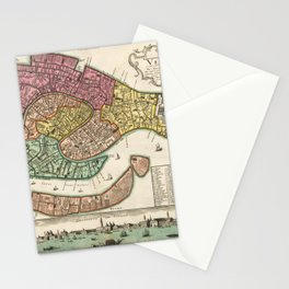 Vintage Map Print - 1729 map of Venice by Homannsche Erben Stationery Cards