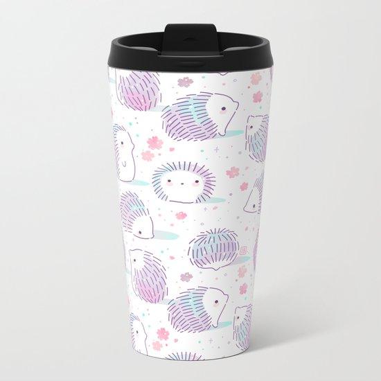 Spring Hedgehog Pattern Metal Travel Mug