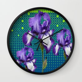 PURPLE IRIS TEAL OPTICAL ART PATTERNS Wall Clock
