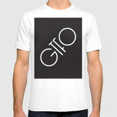 GTFO Minimal Typography White Mens Fitted Tee SMALL