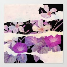 floral on torn paper Canvas Print