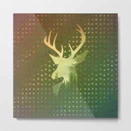 Golden Deer Abstract Footprints Landscape Design Metal Print