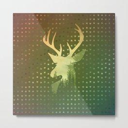 Golden Deer Abstract Footprints Landscape Design Metal Print