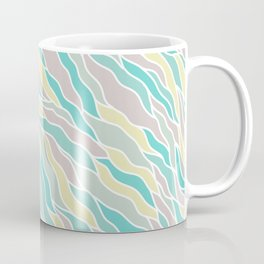 Pastel green teal yellow pink hand painted waves pattern Coffee Mug