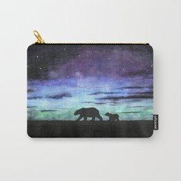 Aurora borealis and polar bears (black version) Carry-All Pouch