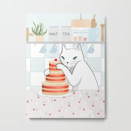 Sweet Tea Time in Cat's Kitchen Metal Print