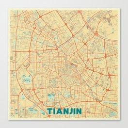 Tianjin Map Retro Canvas Print