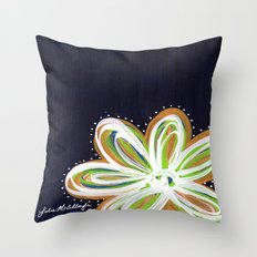 Navy and Gold Flower Throw Pillow