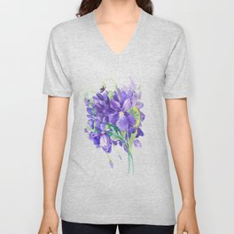 Violet Flowers, Floral Bouquet watercolor design purple flowers Unisex V-Neck