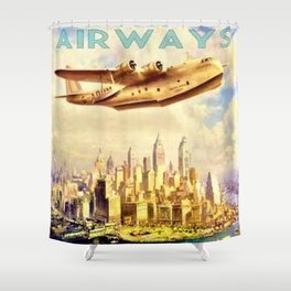 Vintage Imperial Airways New York City Advertisement Art Shower Curtain