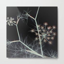 Elegant Dark Floral Abstract Nature Metal Print