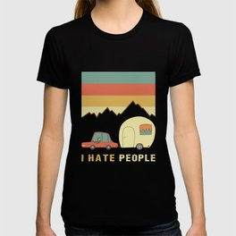 I Hate People Humans Holiday Sloth Camper Camping Design T-shirt