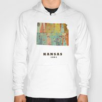 kansas Hoodies featuring Kansas state map modern by bri.buckley