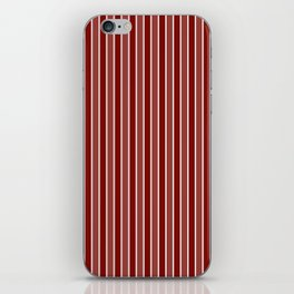 Vintage New England Shaker Village Milk Paint Barn Red Small Vertical Bedding Stripe iPhone Skin