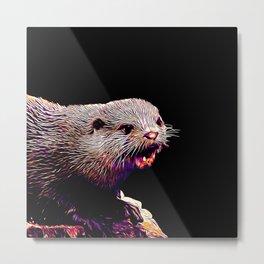 fish otter on a rock vector art purple white Metal Print