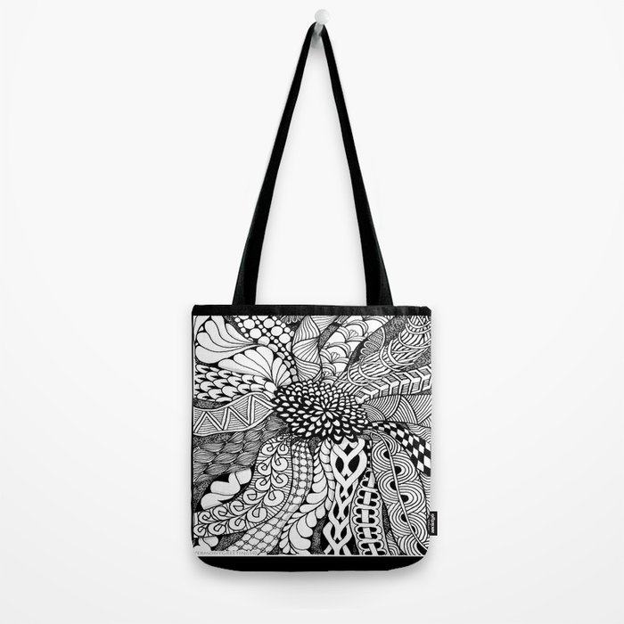 Zentangle Black and White Summer Sunflower Tote Bag