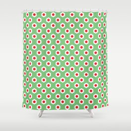 Holiday Hexies Mint & Red Shower Curtain